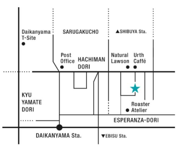 HealthyTOKYO CBD Shop Cafe Daikanayama map white