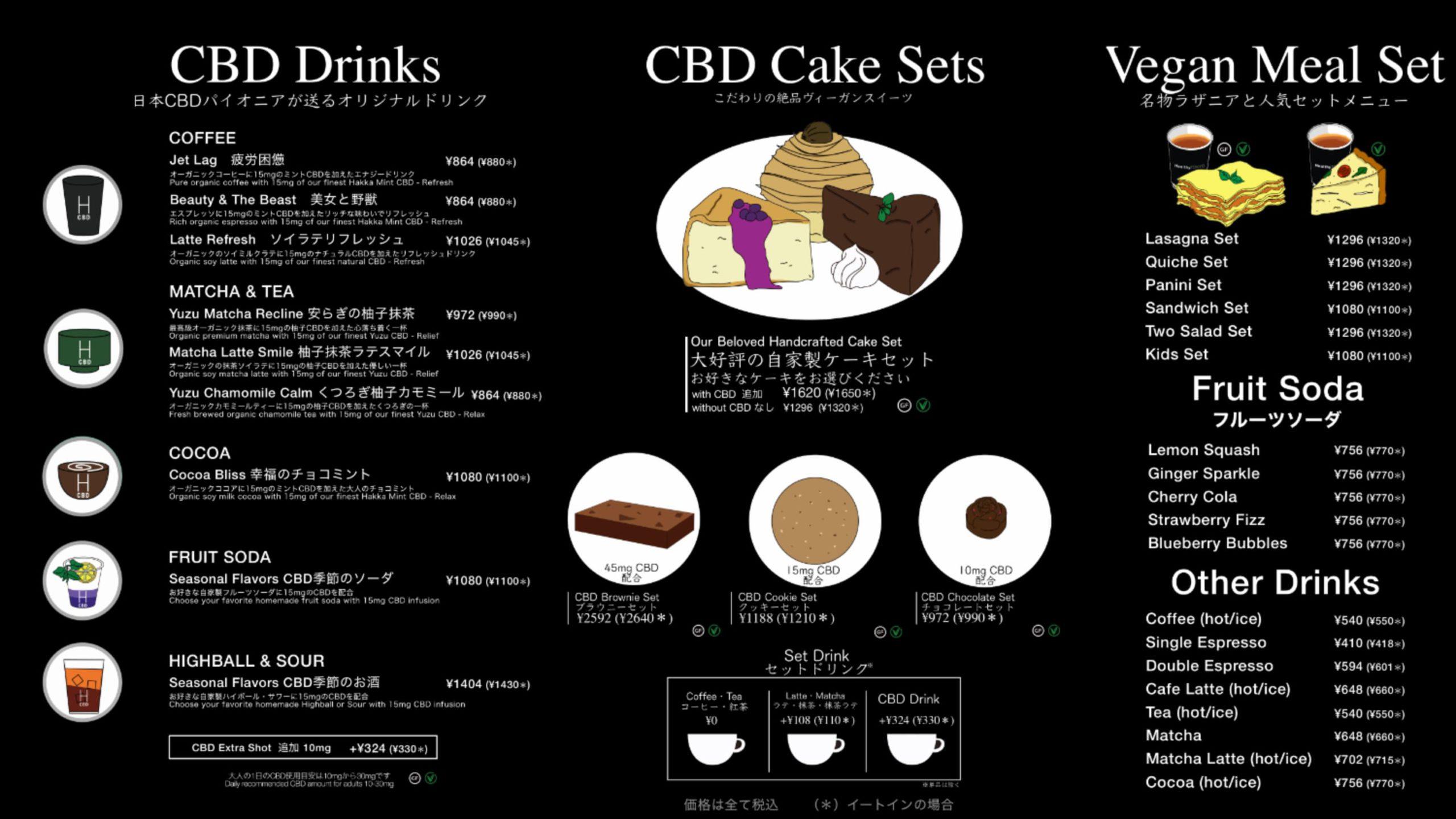 HealthyTOKYO CBD Factory and Cafe Edogawa menu 20210629
